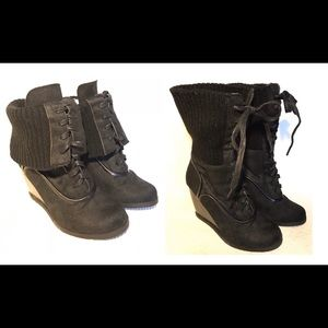 Dollhouse wedge suede ankle boots